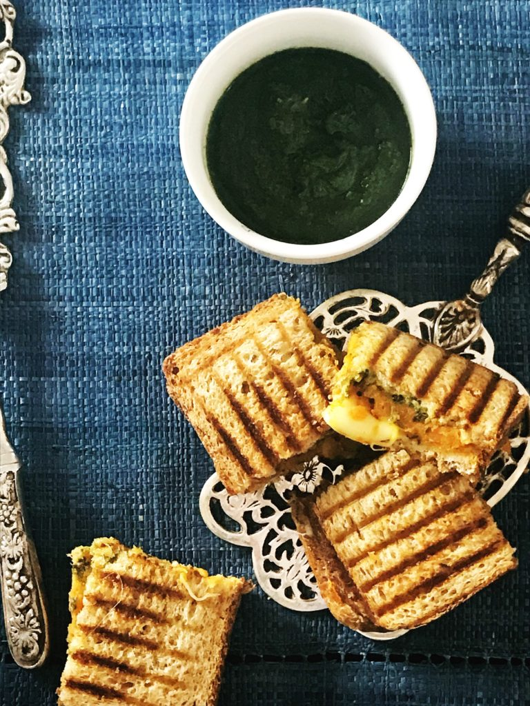 Masala grilled cheese sandwich